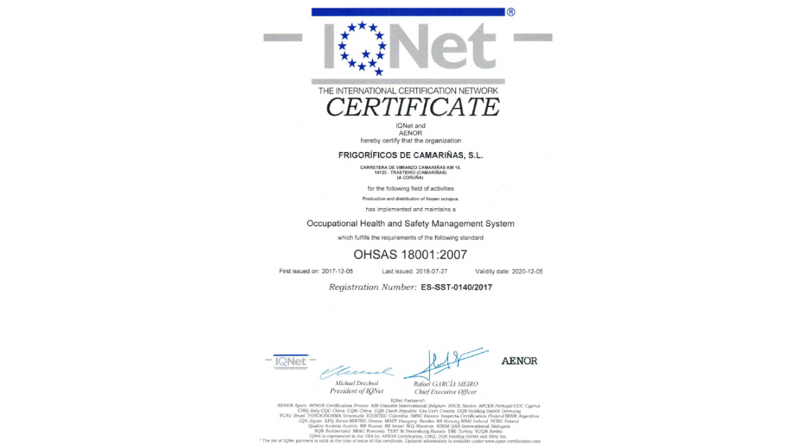 Certification:  OHSAS 18001:2007