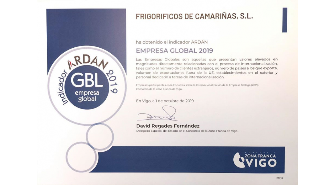 Frigoríficos de Camariñas, S.L. has obtained the ARDÁN indicators: Global Company & Innovative Company 2019